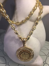 """14k Gold Plated San Benito Medallion Pendant With Chain 27"""" 7mm"""