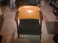 brown wooden framed black padded armchair Angus, L0M
