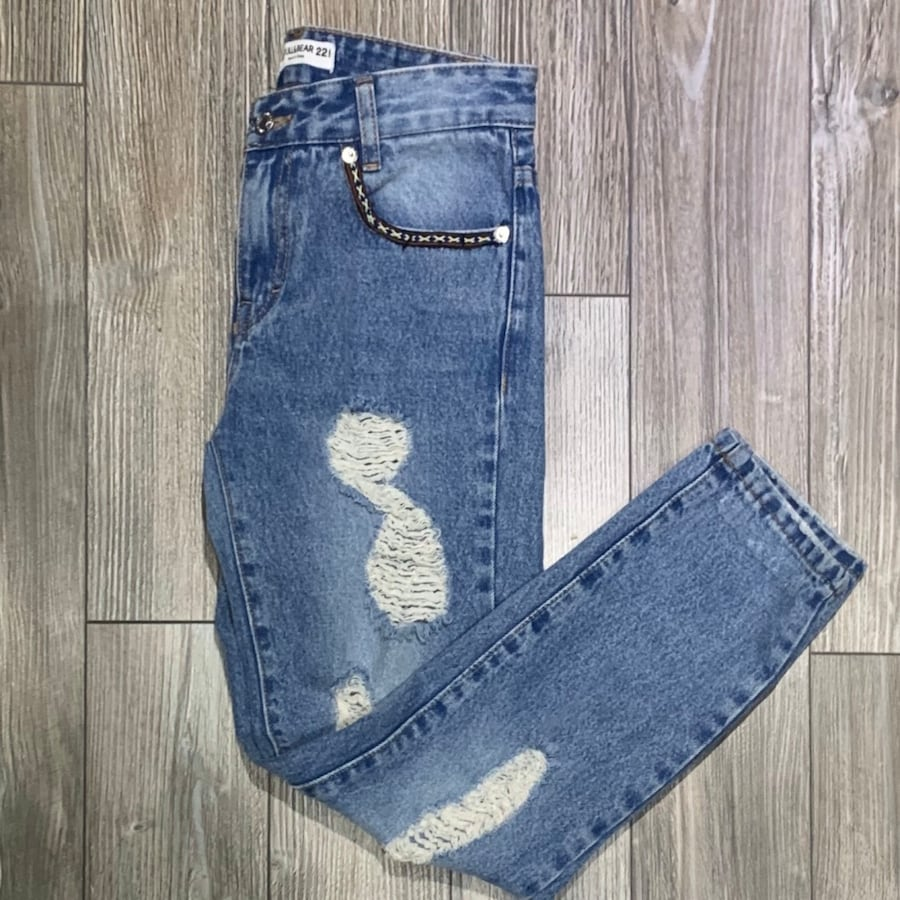 Pull & Bear   Blue Distressed Cigarette Jeans