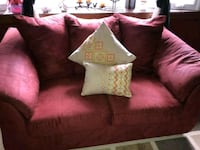 red suede loveseat with throw pillows Hyattsville, 20784
