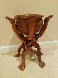 Hand made one piece wooden camel stand with bowl  Sterling, 20164