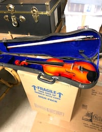 red and blue violin in case Alexandria