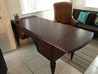 Ethan Alan Solid Wood Desk & Leather Chair-Moving Sale Boca Raton, 33486