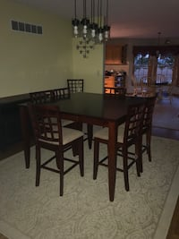 Rectangular brown wooden table with eight chairs dining set Greenwood, 19950