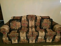 brown and red floral fabric 3-seat sofa Everett, 98204