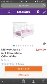White Convertable Crib From Baby's R Us. Brand New never used Matress Signature Brilliant Nights with Teddy Bear Sheat and Skirt Downey, 90241