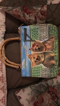 Brown blue and green 2 dog print handbag Gainesville, 20155