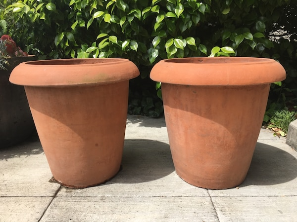 Pair Of Large Terra Cotta Clay Pots