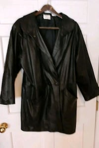 Womens Leather Coat -blk