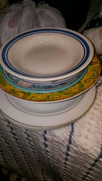 round white and blue ceramic plate London, N6E 2B2