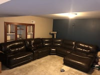 Leather Sectional Mocha Color King George, 22485
