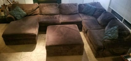Family sectional with ottoman - must pick up, no delivery or shipping