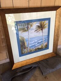 Palm trees/beach/ocean beautiful glass framed picture Orland Park, 60462