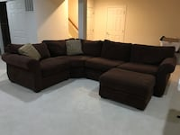 black fabric sectional sofa with ottoman Ashburn, 20147