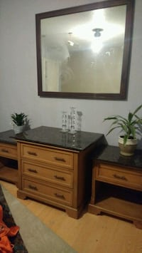 3pc Granite top end tables and solid oak Wasilla
