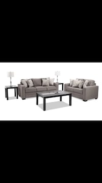 Gray fabric sectional sofa with throw pillows Falls Church