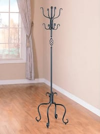 Spiral Design Sandy Black Metal Coat/ Hat Rack Lake Ridge