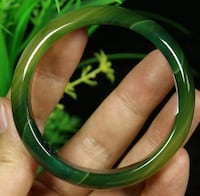 68 mm Certified Natural Green Agate Chalcedony Jade fashion Bangle Bracelet New City, 10956