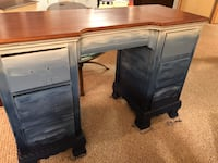 Wooden desk painted in varied blue shades South Pasadena, 33707
