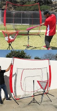 New $80 Baseball Practice (3pc Set) includes the 7'x'7 Net Bow Frame, Ball Tee and Caddy Bag South El Monte