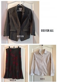 Work Outfit: Dynamite Blazer, Dress Shirt & Size 3/4 Smart Set Skirt