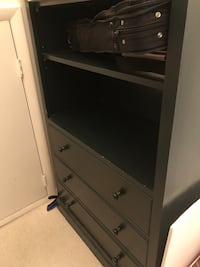 Bookcase with 3 drawers. Hunter green. Excellent condition. 78 in tall, 32 in wide, 16 in deep. Mc Lean, 22101
