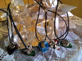 Beach glass necklaces on chords