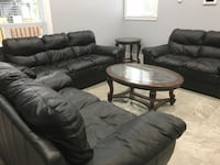 Black leather sofa set couch