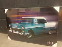 classic teal and white coupe painting