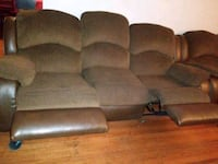 brown fabric 3-seat recliner sofa 26 mi