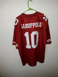 red and white Garoppolo 10 jersey shirt
