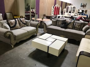 FLOOR SAMPLE SOFA AND LOVESEAT WITH UNDERNEATH STORAGE