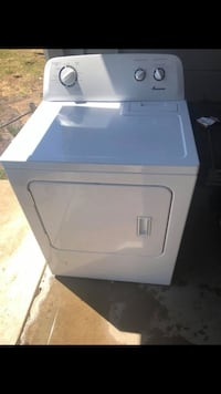 White front-load clothes AMANA dryer 2357 mi