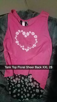 pink and white floral sheer back tank top Evansville, 47715