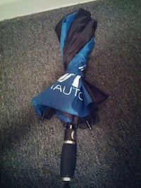 black and blue Nautica umbrella