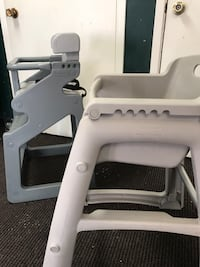 baby's two gray high chairs