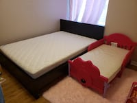 Double Bed Frame and Mattress + Minne Mouse Toddler Bed (no matress)