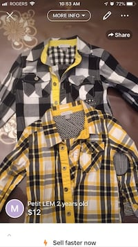 Yellow and black plaid button up dress shirt