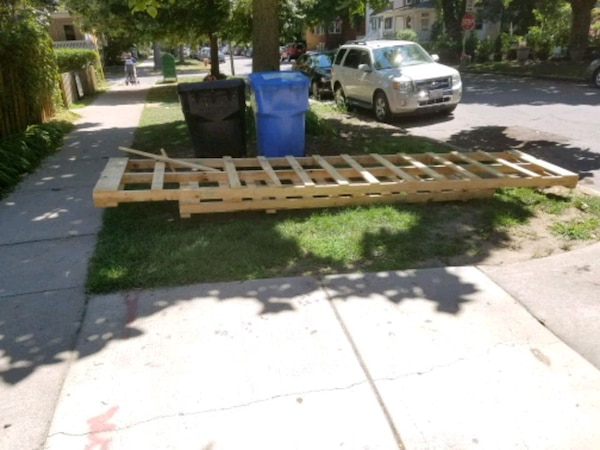 Used Large wood pallets (2) roughly 10ft and 12ft long for sale in