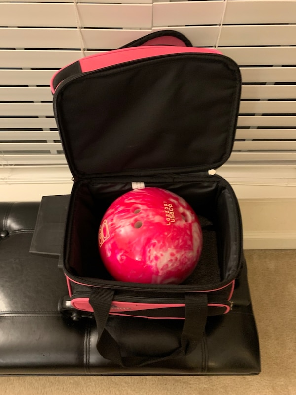 Brand New 8lbs Bowling Ball & Rolling Bag