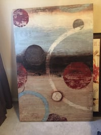 brown, blue, and red abstract painting decor