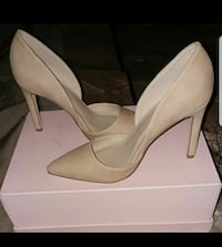 nude leather pointed-toe heels with box