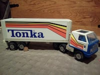 white and blue Tonka cargo truck toy Sainte-Julienne, J0K 2T0