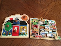 two house and car wooden board decors
