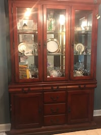 Brown wooden framed glass china cabinet Gaithersburg, 20879