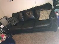 Black leather 3-seat sofa West Valley City, 84119