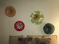 four round green and brown ceramic plates Longwood, 32779