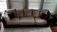 brown suede 3-seat sectional sofa Chantilly