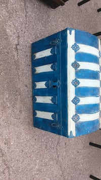 Antique humpback trunk painted blue and white. Great  storage box in ok condition London, N6A 1T2