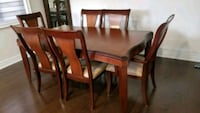 rectangular brown wooden table with six chairs dining set Mississauga, L5N 8B2